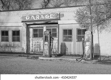Old gas station in black and white, Utah, USA.