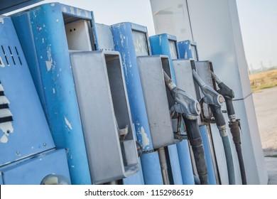 Old gas station, fueling gun