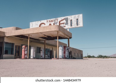 Old gas station in the middle of nowhere in California