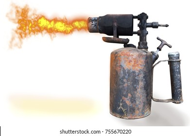 Old gasoline blowtorch on a white background. Insulated blowtorch