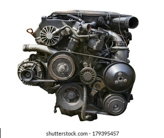 old gasoline engine isolated white background