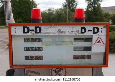 old gasoline pum display in abandoned gas station