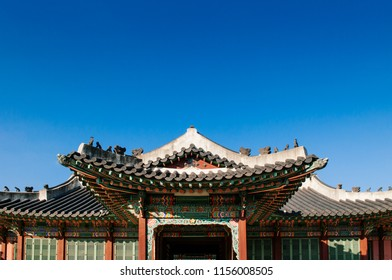 Old gate with tile roof of Huijeongdang hall of Changdeokgung Palace, also know as East Palace and one of Five Grand Palaces in Seoul