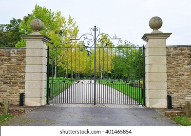 Amazing Old Gated Entrance And Driveway Of A Country Estate