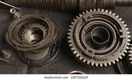 old gear, gearbox, bearing, gear wheel