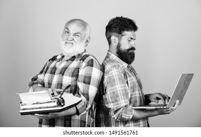 Old generation. Senior man with typewriter and hipster with laptop. Modern life and remnants of past. Digital technologies. Battle of technologies. Master new technologies. Men work writing devices.