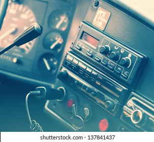 Old generic truck dashboard. Toned