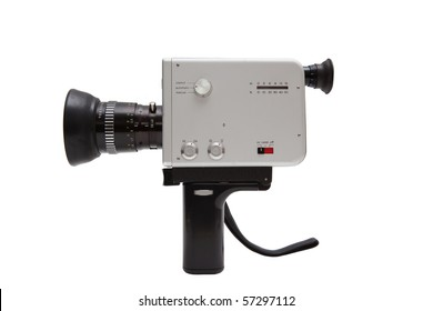 Old german 8mm camcorder, isolated on white