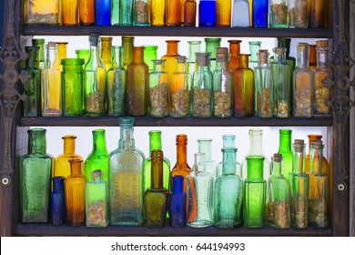 Old German bottles of colored glass