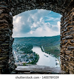 old German castle Bernkastel an Moselle river, Bernkastel Burgruine Landshut Mosel river Germany, old castle looking out over the river Mosel