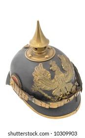 Old German helm (WWI) so called Pickelhaube (peaked helm).
