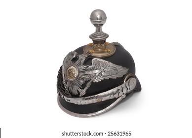 "Old German peaked helm of the 19th century, so called ""Pickelhaube""."