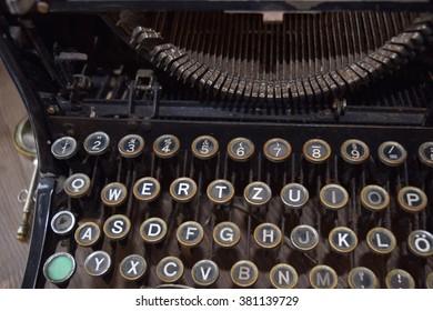 Old German vintage typewriter, close-up.