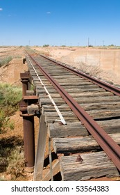Old Ghan Railway track by the Oodnadatta Track, Australia