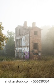 Old ghost lonely house in a fog