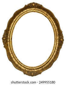 Old gilded golden wooden frame with clipping path.