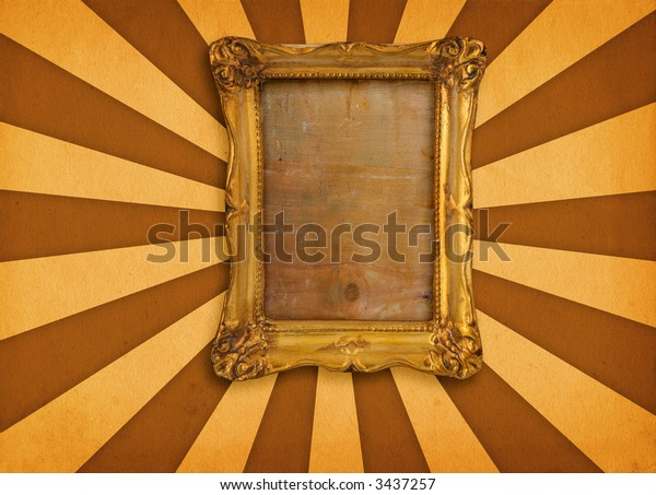 old gilded picture frame on retro background