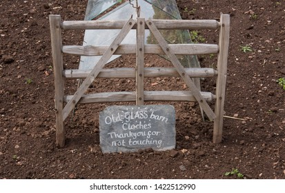 """Old Glass Barn Cloche Thank You for Not Touching"" Hand Written Sign Leaning Against a Miniature Wooden Gate on an Allotment in a Vegetable Garden in Rural Somerset, England, UK"