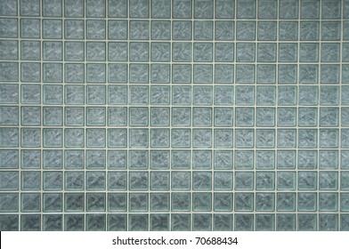 old glass brick wall