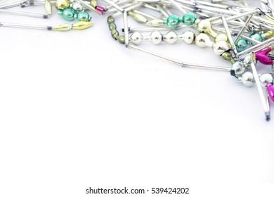 old glass Christmas garland on closeup white