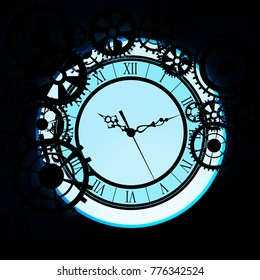 old glass clock with gears, steampunk background. 3d illustration.