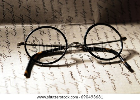 Old glasses on a