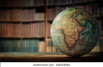 Old globe on bookshelf background selective stock photo edit now old globe on bookshelf background selective focus retro style science education gumiabroncs Choice Image