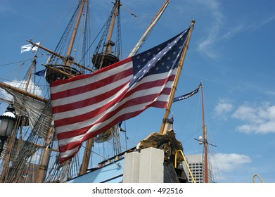 Old Glory on a ship