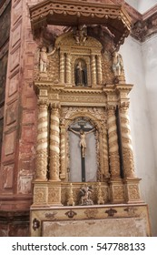 OLD GOA, INDIA - 21 SEPTEMBER 2014 : Interior of Convent and Church of St. Francis of Assisi - Roman Catholic church. Church was built in 1661 by Portuguese in the Portuguese Viceroyalty of India.