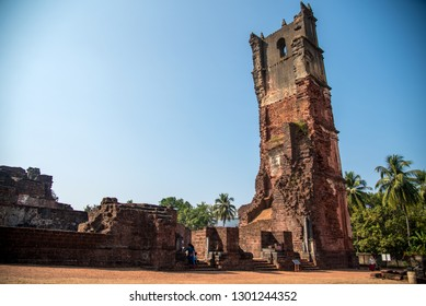 OLD GOA, INDIA - DECEMBER 27, 2018: Ruins of St Augustine Church in Old Goa, Church of St Augustine was constructed between 1592 to 1602 by Augustinian friars.