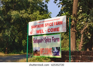 Old Goa, India - November 16, 2012: Sign for tourists about Sahakari Spice Farm in Old Goa, India. It is a popular tourist place for gaining knowledge about spices and lunch in traditional Goan style