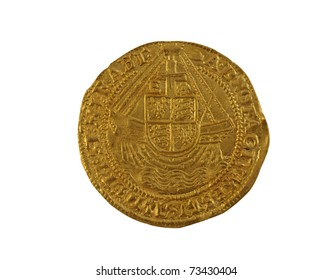 Old gold Angel hammered coin of Elizabeth I minted 1590-1592 showing ship with royal shield, reverse side