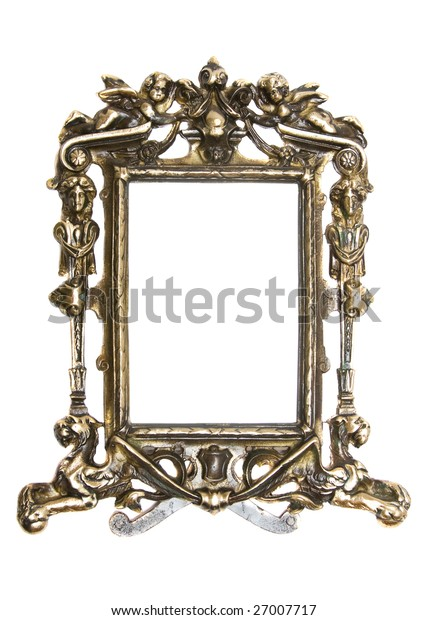 old gold frame on white background