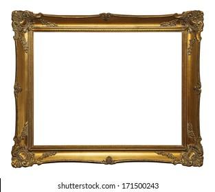 Old Gold Leaf Ornate Frame Isolated on White Background.