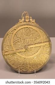 Old golden astrolabe for navigation
