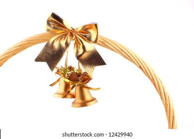 old golden bells attached to the grip of present-basket