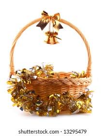 old golden bells and present basket with golden garland