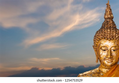 The old Golden Budha Mysterious religion. Background.