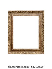Old golden frame isolated on white background.