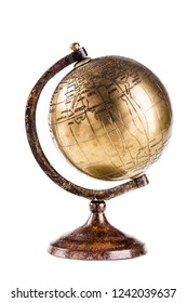 an old golden globe (map of the world) isolated over white
