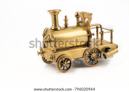 Old Golden Steam Locomotive Toy On Stock Photo (Edit Now) 796020964 ...