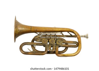 Old golden trumpet on a white background, isolated