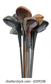 Old golf club wooden and metal