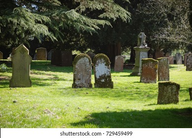 old gothic abandoned British cemetery with monuments