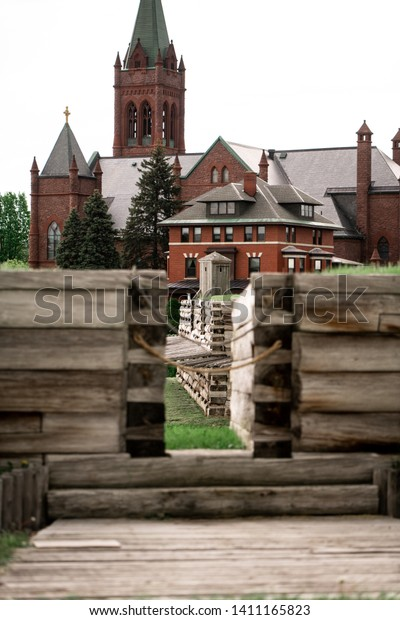 An old gothic church viewed from the battlements of Fort Stanwix