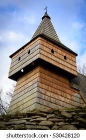 Old gothic wooden church in Grywald, Pieniny, Poland