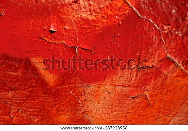 Old graffiti orange and red wall - grunge texture and background