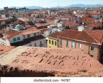 Old grafitti (1916) on a tower overviewing the city of Perpignan in the south of France (horizontal)
