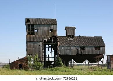 Old grain dryer. Russia, Moscow region.