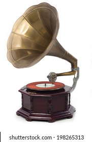 Old gramophone with CD